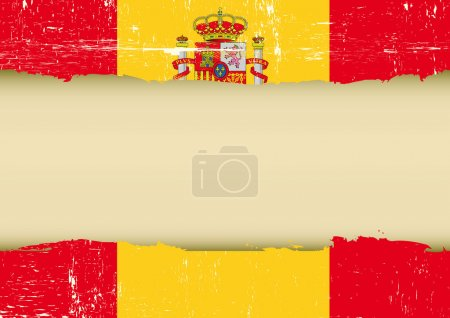 Illustration for A spanish flag with a large frame for your message - Royalty Free Image