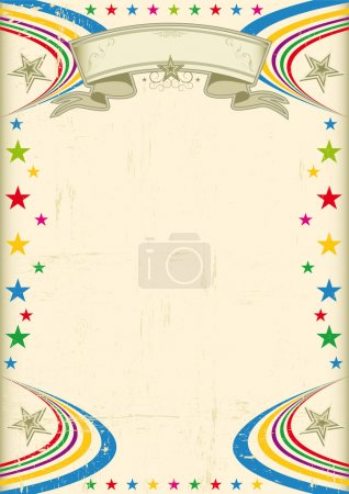 Illustration for A vintage champagne color poster with multicolor stars for your advertising - Royalty Free Image