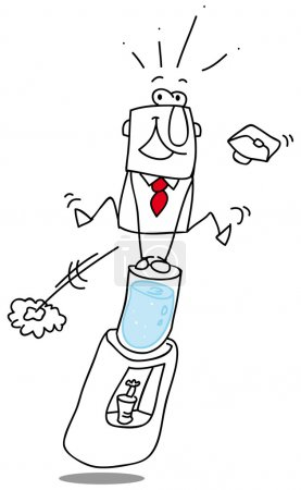Illustration for Jump the water fountain. A businessman jump the water fountain in the office ! - Royalty Free Image