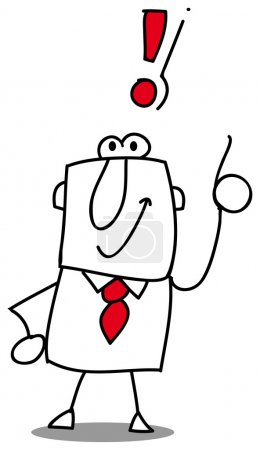 Illustration for Man and exclamation marks ! - Royalty Free Image