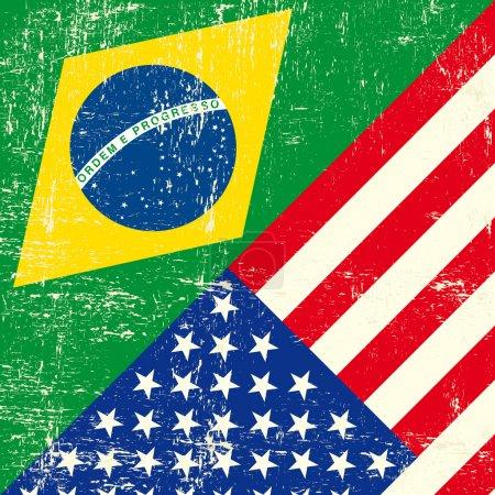 Brazil and USA grunge Flag.