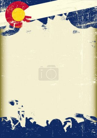 Grunge Colorado flag. A poster with a large scratched frame and a grunge flag of Colorado for your publicity.