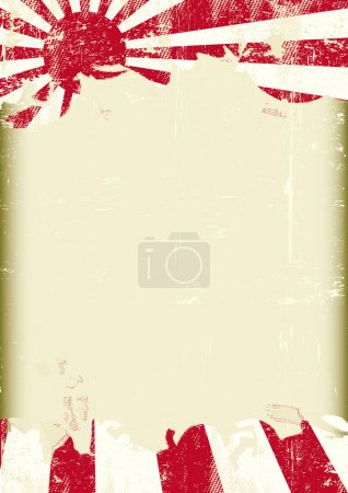 Grunge Japan war flag. A poster with a large scratched frame and a grunge flag of japan war for your publicity.
