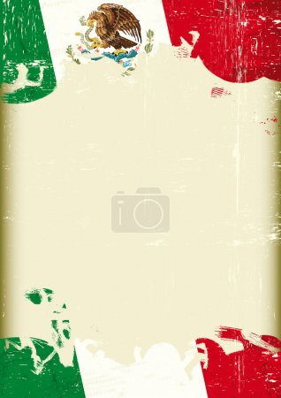 Grunge Mexican flag. A poster with a large scratched frame and a grunge mexican flag for your publicity.