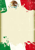 Grunge Mexican flag A poster with a large scratched frame and a grunge mexican flag for your publicity