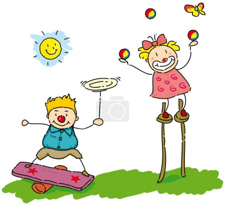 Two small children who juggle....