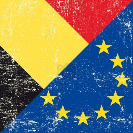 Belgian and European grunge Flag
