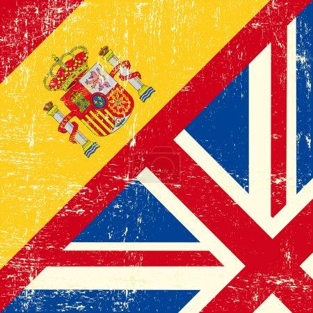 Illustration for UK and Spanish grunge flag - Royalty Free Image