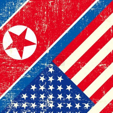 USA and North Korean grunge Flag