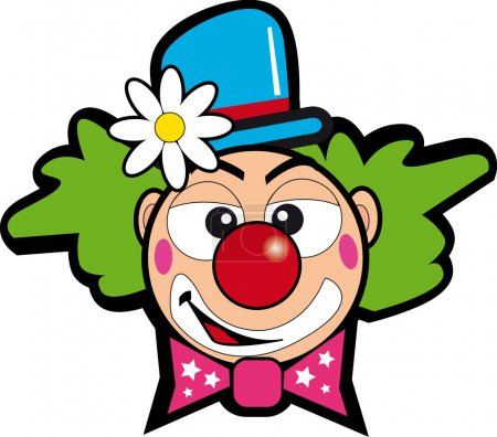 Illustration for Drawing of a face clown for a sticker - Royalty Free Image
