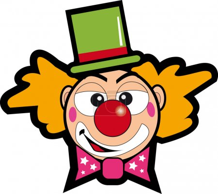 Illustration for A clown face for a sticker. - Royalty Free Image