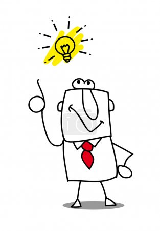 Illustration for Joe has a good idea. this man is very creative and intelligent - Royalty Free Image