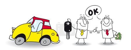 Illustration pour Joe vend sa voiture à Mike. - image libre de droit