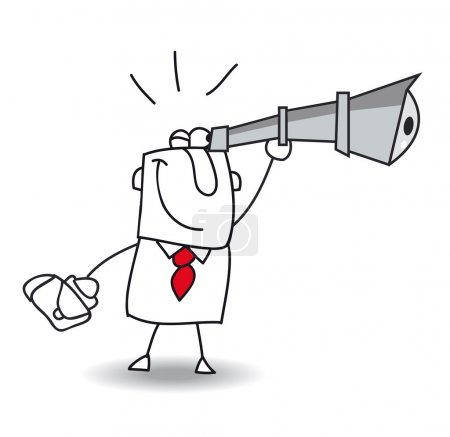 Illustration for Joe the businessman is looking through Hand-Held Telescope. - Royalty Free Image
