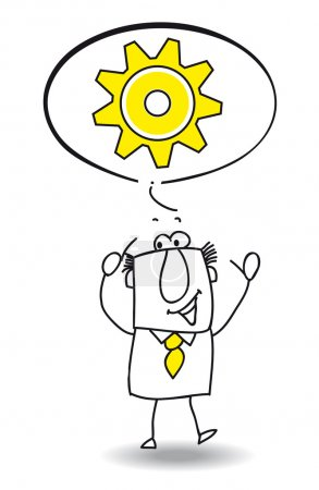 Illustration for Sam want to find a solution. He's very intelligent - Royalty Free Image