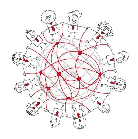 Illustration pour Groupe d'hommes d'affaires du monde entier. Il symbolise le réseautage - image libre de droit