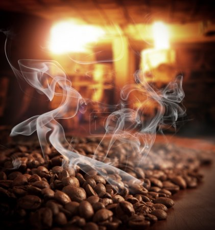 Roasted steaming coffee beans