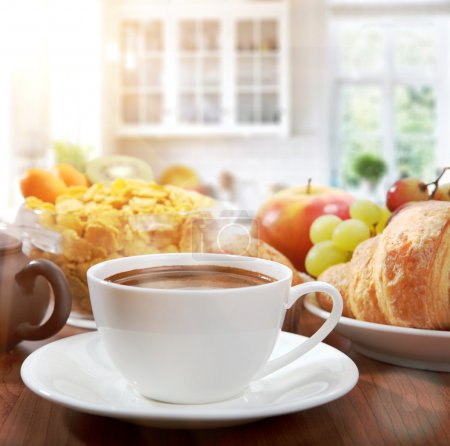 Photo for Healthy breakfast with coffee in sunny morning - Royalty Free Image