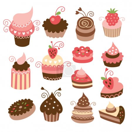 Set of cute little cakes