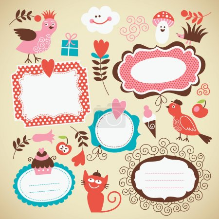 Set kids icon, frames and decor elements
