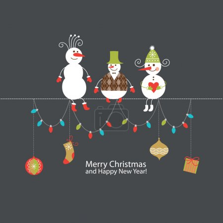 Illustration for Greeting Christmas and New Year's card - Royalty Free Image