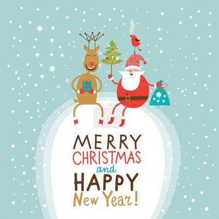 Illustration pour Carte de voeux de Noël et Nouvel An, Père Noël avec sac cadeau et arbre de Noël et cerf drôle - image libre de droit