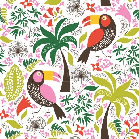 Illustration pour Sans soudure fond floral avec oiseaux - image libre de droit
