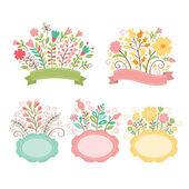 Set of floral bouquets  romantic composition vector collection