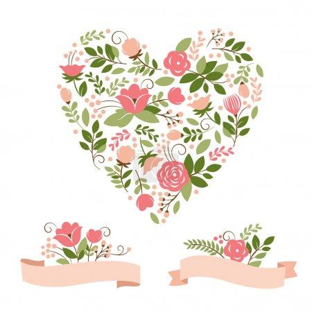 Illustration pour Bannières florales et coeur, collection vectorielle - image libre de droit