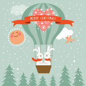 Two funny vector new year rabbits flying a magic balloon