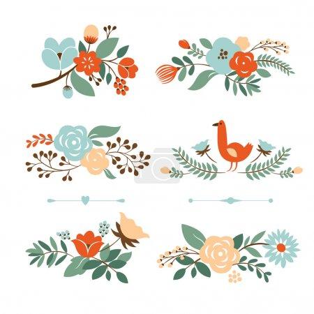 Illustration pour Coffret graphique floral, Bannières florales pour événements de la vie, collection vectorielle - image libre de droit