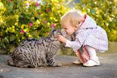 Portréja egy kislány egy macska