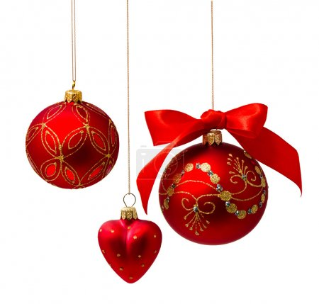 Photo for Perfect golden christmas balls isolated on white background - Royalty Free Image