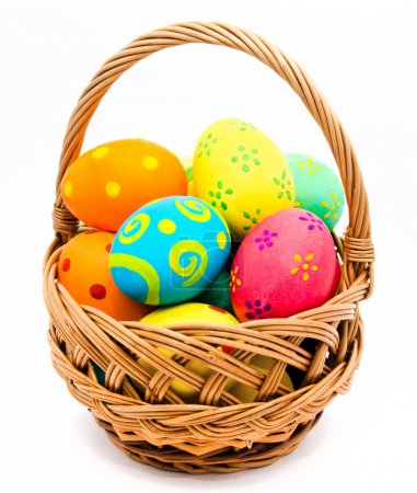 Colorful handmade easter eggs in the basket isolated on a white