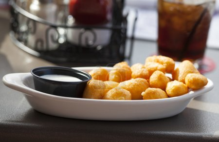 Cheese curds meal up close....