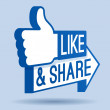 Like and share thumbs up social networking symbol....
