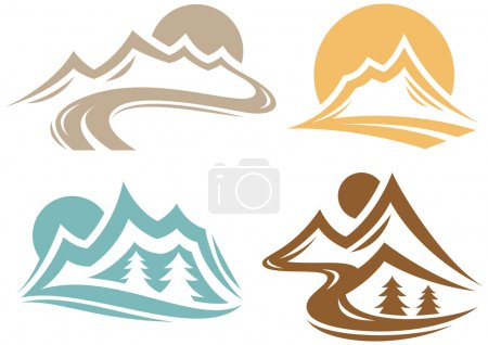 Illustration for Mountain outdoor nature symbol collection. - Royalty Free Image