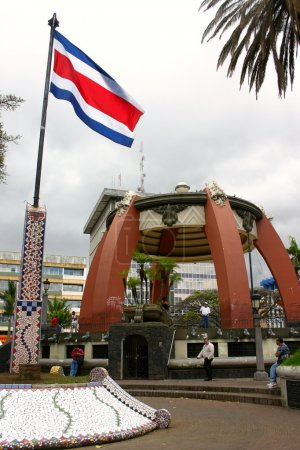 Flag of Costa Rica in a square in San Jose