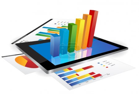 Illustration for Tablet screen with 3d graph and a paper with statistic charts - Royalty Free Image