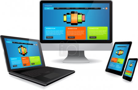 Illustration for Responsive website template on multiple devices - Royalty Free Image