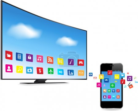 Illustration for Application coming out  from Smart Phone and Smart TV on white background - Royalty Free Image
