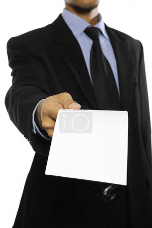 Photo for Business man showing blank envelope isolated over white background. You can put your message on the envelope - Royalty Free Image