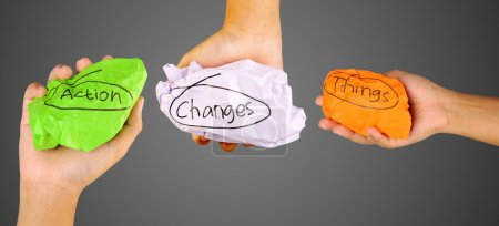 Hands Holding Crumpled Paper With Action Changes Things Writing
