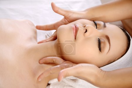 Asian Woman Get Facial Massage