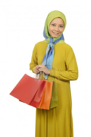 Woman In Hijab Holding Shopping Bags