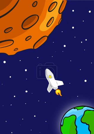 Illustration for Rocket Flying Through Outer Space. From Earth To Red Planet. Vector Illustration - Royalty Free Image