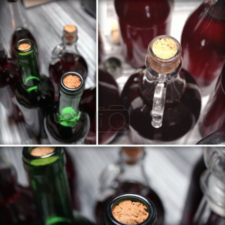 Photo for Set of old home made wine bottles details - Royalty Free Image