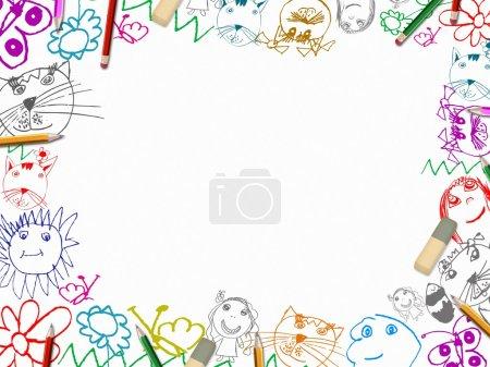 Photo pour Dessins pour enfants avec crayons cadre fond isolé sur blanc - image libre de droit