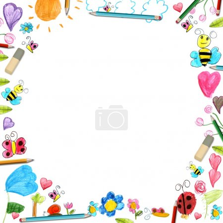 child flowers frame - scribbles drawings background isolated