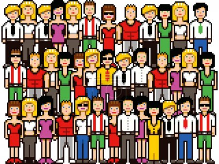 Set of pixel art people crowd vector illustration
